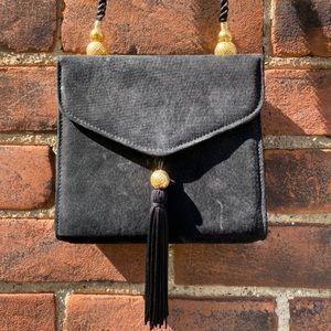 black vintage handbag Suede MaryKay purse clutch